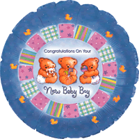 New Baby Boy Cute Bears Balloon in a Box