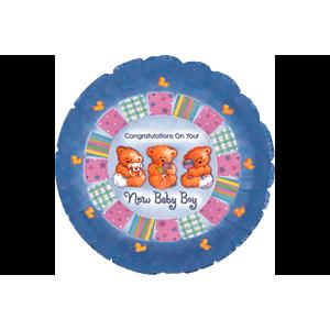 New Baby Boy Cute Bears Balloon in a Box