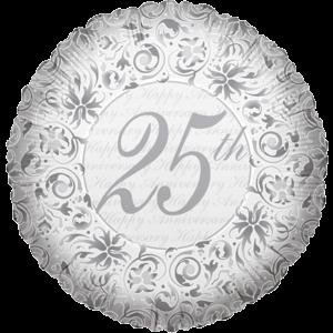 "18"" Silver 25th Anniversary Balloon in a Box"