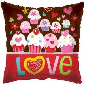 Cupcakes Love Pillow Shape Balloon in a Box