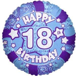 "18"" Holographic 18th Birthday Balloon in a Box"