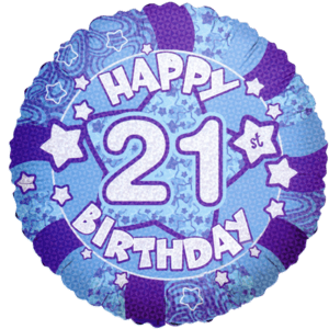 "18"" Blue Holographic Happy 21st Birthday Balloon in a Box"