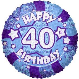 """18"""" Happy 40th Birthday Holographic Balloon in a Box"""