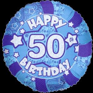 Happy 50th Birthday Dazzling Blues Balloon in a Box