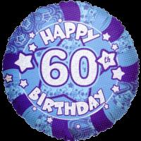"18"" Happy 60th Birthday Blue Balloon in a Box"