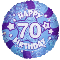 "18"" Happy 70th Birthday Blue Holographic Balloon in a Box"