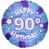 Blue Happy 90th Birthday Holograph Balloon in a Box