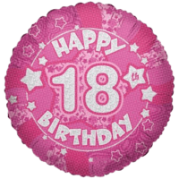 "18"" Happy 18th Birthday Pink Holographic Balloon in a Box"
