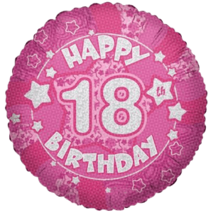 """18"""" Happy 18th Birthday Pink Holographic Balloon in a Box"""
