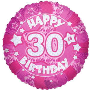 30th Birthday Pink Holographic Balloon in a Box