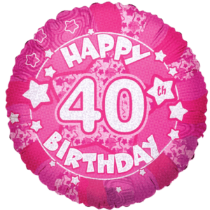 "Happy 40th Birthday Pink Holographic 18"" Balloon in a Box"