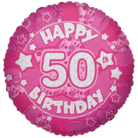 "Happy 50th Birthday Holographic Stars 18"" Balloon in a Box"