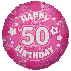 """Happy 50th Birthday Holographic Stars 18"""" Balloon in a Box"""
