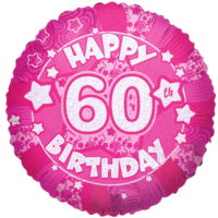 """Pink Happy 60th Birthday Holographic 18"""" Balloon in a Box"""