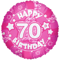 Pink Happy 70th Birthday Holograph Balloon in a Box