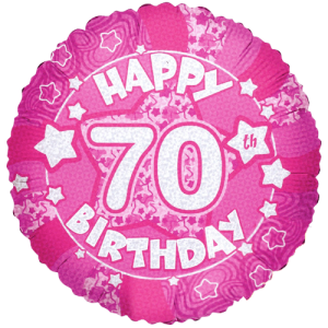 Happy 70th Birthday Holographic Pink Balloon in a Box