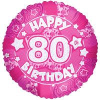 Happy 80th Birthday Holograph Pink Balloon in a Box