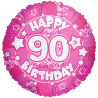 Happy 90th Birthday Holograph Pink Balloon in a Box