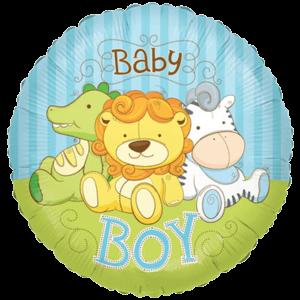 "18"" Baby Boy Jungle Animals Balloon in a Box"