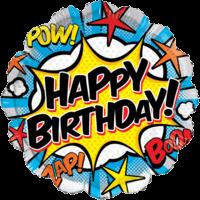 "18"" Happy Bithday Comic Stars Balloon in a Box"