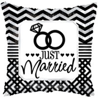 Just Married Chevron Pillow  Balloon in a Box