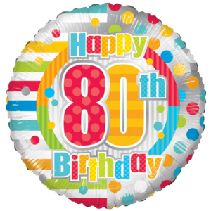 "18"" Happy 80th Birthday Unisex Balloon in a Box"
