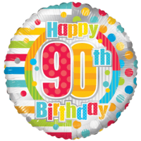 "18"" Happy 90th Birthday Colourful Dots Balloon in a Box"