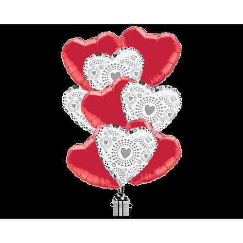 Silver Dazzle Hearts