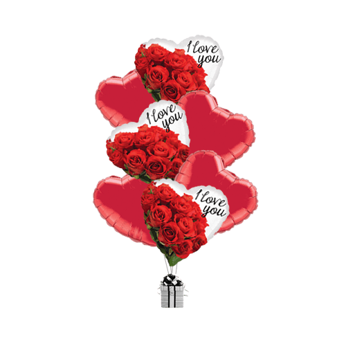 I Love You Red Roses Hearts