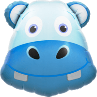 """28"""" Hippo Head Blue Balloon in a Box"""
