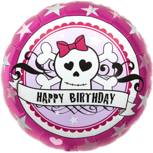 """18"""" Birthday Skully Pink Bow Balloon in a Box"""