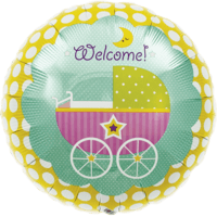 Colourful Welcome Baby Buggy Balloon in a Box