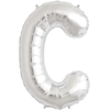 """34"""" Letter C Silver Foil Balloon overview"""