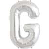 """34"""" Letter G Silver Foil Balloon overview"""