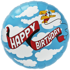Happy Birthday Aeroplane Banner Balloon in a Box
