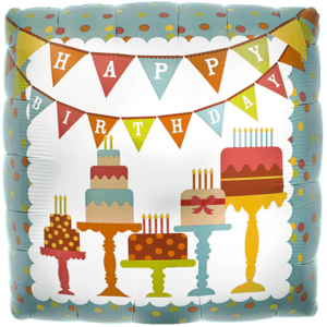 Vintage Birthday Banner Cakes Balloon in a Box
