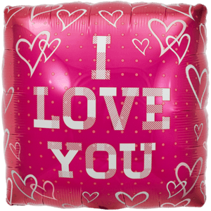 I Love You Pink Hearts Balloon in a Box