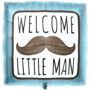 Welcome Little Man Blue Stripes Balloon in a Box