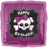 Girly Skull Birthday Balloon in a Box