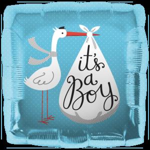 Blue It's a Boy Stork Balloon in a Box