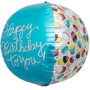 Happy Birthday To You Cupcake Sphere Balloon in a Box