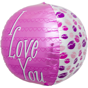 "17"" I Love You Kisses Sphere Pink Balloon in a Box"