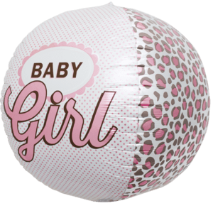 Pink Baby Girl Sphere Balloon in a Box