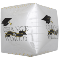 "17"" Change The World Graduate Cube Balloon in a Box"
