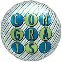 Congratulations Blue and Green Stripes Balloon in a Box