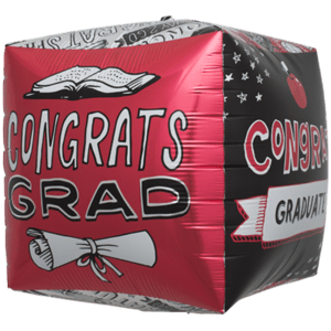 Congrats Graduate Doodles Cube Balloon in a Box