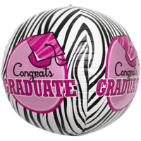 "17"" Graduate Pink Zebra Sphere Balloon in a Box"