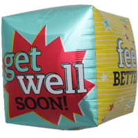 "17"" Get Well Blast Cube Balloon in a Box"