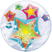 "24"" Colourful Stars Double Bubble Balloon in a Box"