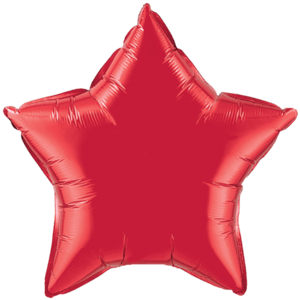 "20"" Ruby Red foil Star Balloon Product Display"